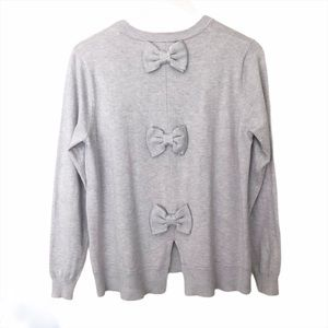 Catherine Malandrino Lightweight Gray Bow Sweater
